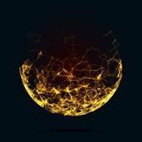Esferas abstractas de la malla Estilo futurista de la tecnología Fondo elegante para las presentaciones del negocio Ruina de vuel Foto de archivo
