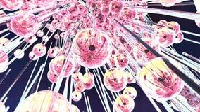 Esferas abstractas del hielo que vuelan en la cámara lenta ilustración del vector