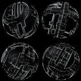 Esferas abstratas de círculos e de linhas de incandescência ilustração stock