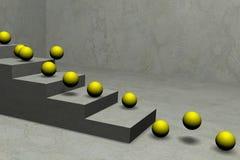 Esferas amarelas que saltam pela escada Foto de Stock Royalty Free