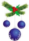 Esferas azuis do Natal ilustração do vetor
