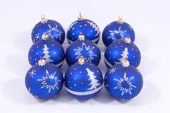 Esferas azuis do Natal Fotos de Stock