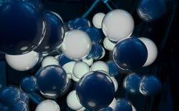 esferas blancas azules 3D Imagenes de archivo