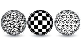 Esferas blancos y negros Fotografía de archivo