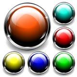 esferas brillantes 3D con los elementos metálicos Libre Illustration