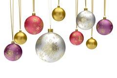 Esferas coloridas do bauble do Natal Fotos de Stock Royalty Free