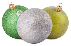 Esferas coloridas do Natal isoladas no branco Imagens de Stock