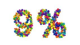 Esferas coloridas en la forma del nueve por ciento Foto de archivo