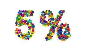 Esferas coloridas en la forma del 5 por ciento Foto de archivo libre de regalías