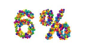 Esferas coloridas en la forma del seis por ciento Fotografía de archivo