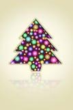 Esferas da árvore e da luz de Natal ilustração royalty free