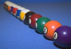 Esferas de bilhar na linha Fotografia de Stock