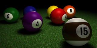 Esferas de Billard na tabela Fotografia de Stock Royalty Free