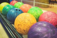 Esferas de bowling coloridas Imagem de Stock