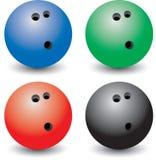 Esferas de bowling coloridas múltiplas Fotografia de Stock Royalty Free
