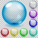 Esferas de cristal transparentes coloreadas Imágenes de archivo libres de regalías