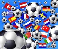 Esferas de futebol Flaying - nações Fotografia de Stock