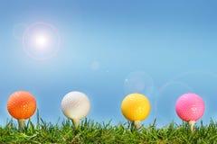 Esferas de golfe coloridas nos gras Imagens de Stock