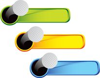 Esferas de golfe em abas coloridas Fotos de Stock Royalty Free