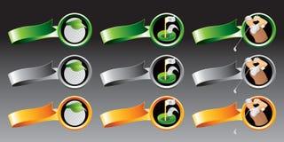 Esferas de golfe, furos, e jogadores de golfe em fitas coloridas ilustração do vetor