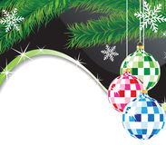 Esferas de la Navidad y ramificación del piel-árbol Imagen de archivo