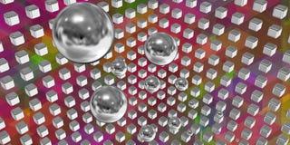 Esferas de prata que voam em um espaço da tecnologia Imagens de Stock Royalty Free