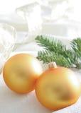 Esferas de vidro amarelas boas para o fundo Foto de Stock Royalty Free