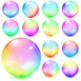 Esferas de vidro opacas coloridas Fotografia de Stock