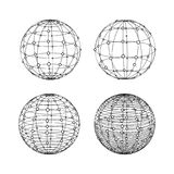 Esferas de Wireframe ajustadas Símbolos do globo com pontos ilustração do vetor
