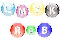 Esferas del RGB y de CMYK Fotografía de archivo