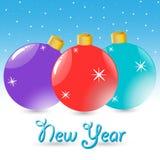 Esferas do ano novo Imagem de Stock