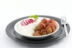 Esferas do arroz e de carne Imagens de Stock