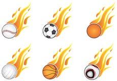 Esferas do esporte com flamas ilustração stock