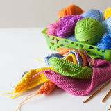 Esferas do fio colorido Vista de acima Todas as cores do ra Fotografia de Stock