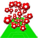Esferas do futebol acima do campo de jogos ilustração stock