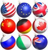Esferas do Glitter com bandeiras ilustração stock