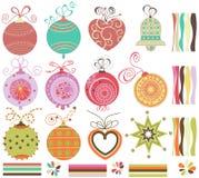 Esferas do Natal ajustadas ilustração do vetor