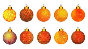 Esferas do Natal Bolas do Natal em texturas diferentes para muitos usos ilustração do vetor