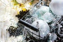 Esferas do Natal branco Foto de Stock Royalty Free