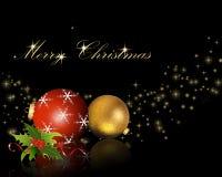 Esferas do Natal com azevinho Fotos de Stock Royalty Free