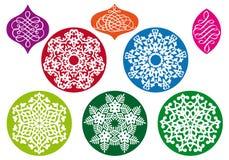 Esferas do Natal com teste padrão do floco de neve, vetor Imagens de Stock