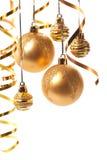 Esferas do Natal do ouro Fotos de Stock