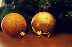Esferas do Natal do ouro Foto de Stock