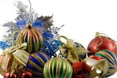 Esferas do Natal em um ouropel Foto de Stock Royalty Free