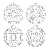 Esferas do Natal estêncil Imagem do esboço do vetor em um fundo branco foto de stock