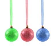 Esferas do Natal isoladas no fundo branco Imagens de Stock Royalty Free