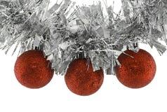Esferas do Natal na festão Fotografia de Stock Royalty Free