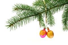 Esferas do Natal no formulário das ameixas imagem de stock