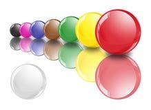 Esferas do Snooker na fileira 1 com branco Fotografia de Stock Royalty Free