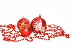 esferas do vermelho de Novo-ano Fotos de Stock